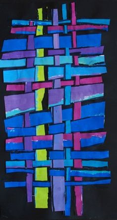 Painted paper weaving - cool colors