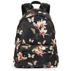 Givenchy Floral Butterfly Nylon Backpack (5,175 ILS) ❤ liked on Polyvore featuring bags, backpacks, mochila, apparel & accessories, nylon backpack, butterfly backpack, givenchy, floral rucksack and flower print backpack