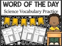 Word of the Day - Science - This Word of the Day - Science will help students understand science vocabulary in a fun and exciting way!.  A GIVEAWAY promotion for Word of the Day - Science Vocabulary Practice (5th Grade) from TheMasonJar on TeachersNotebook.com (ends on 7-29-2016)