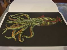 Squid coloured by me drawn by Tim Jeffs from his book Intricate Ink Animals in Detail