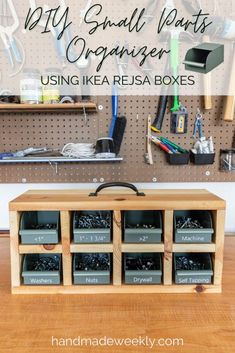Full tutorial and woodworking build plans to make a DIY small parts organizer using IKEA REJSA boxes. Perfect for garage organization. #smallpartsorganizer #garageorganization #beginnerwoodworking #diyorganizer Workshop Organization, Diy Organization, Workshop Ideas, Garage Workshop, Small Parts Organizer, Nifty Diy, Diy Rack, Wooden Organizer, Diy Craft Projects