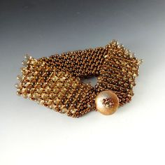 Jewelry Bracelet Hand Woven Copper Beads by CalliopeAZCreations, $75.00