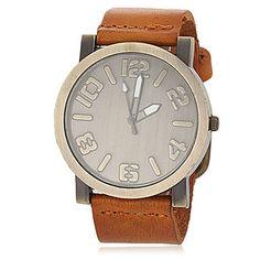Men's Vintage Dial PU Band Quartz Wrist Watch (Assorted Colors) - USD $ 10.99