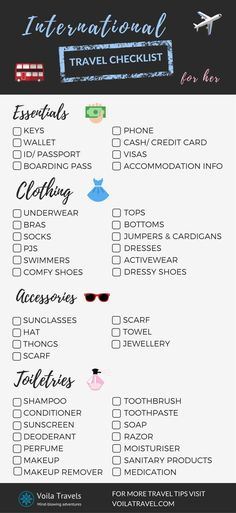 Travel Checklist for Women. Remember what to pack for your next overseas trip with the ultimate packing checklist. Click here to download the full travel checklist.