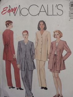 McCall's Sewing Pattern 7823 Woman's Jacket Top Pants Shorts 12 14