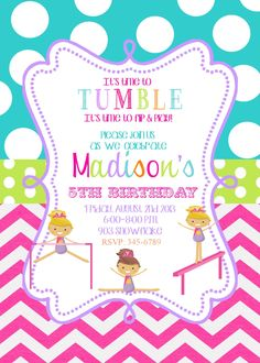 Gymnastics Birthday Party invitations printable or by noteablechic, $9.50