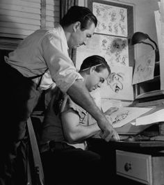 Walt and Jiminy Cricket's animator, 1939