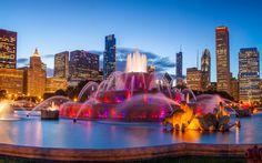 Download wallpapers Chicago, 4k, fountains, America, skyscrapers, Illinois, USA