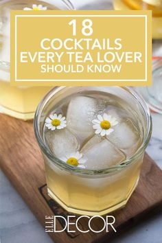 18 Cocktails Every Tea Lover Should Know Whether hot toddies or iced tea are your thing, we've found 18 delicious, tea-infused cocktail recipes to enjoy throughout the year. Click through for more tea cocktails. Iced Tea Cocktails, Easy Cocktails, Cocktail Drinks, Fun Drinks, Yummy Drinks, Cocktail Recipes, Limoncello Cocktails, Beverages, Popular Cocktails
