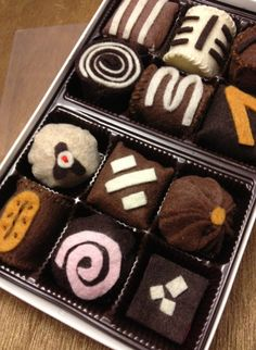 fake felt food and drink | Tempting Fake Food: A Box of Felt Chocolates