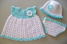 Baby Girl Dress Hat Diaper Cover Free Crochet Patterns