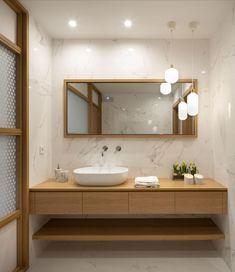 Diseño de oficinas en madera y blanco Office Bathroom, Small Bathroom, Arch Interior, Office Interiors, Double Vanity, My Dream Home, Sweet Home, Shower, Design