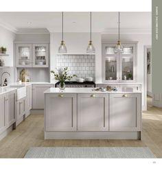 Grey Kitchen Designs, Kitchen Room Design, Home Decor Kitchen, Interior Design Kitchen, Open Plan Kitchen Dining Living, Living Room Kitchen, Kitchen Diner Extension, Grey Kitchen Diner, Luxury Kitchens