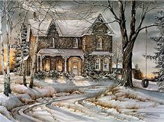 "Trisha Romance Hand Signed and Numbered Limited Edition Giclee:""Warmth Of Winter"" Trisha Romance, Romance Art, Thomas Kinkade, Winter Painting, Winter Art, Christmas Scenes, Christmas Art, Victorian Christmas, Vintage Christmas"