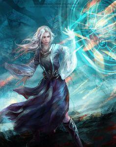 magic, fantasy, woman, spell circle, white hair, mage, blue