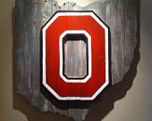 Wooden State of Ohio with Ohio State logo