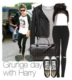 """REQUESTED: Grunge day with Harry"" by style-with-one-direction ❤ liked on Polyvore featuring 6397, Mulberry, Topshop, Yves Saint Laurent, Converse, Ray-Ban, OneDirection, harrystyles, 1d and harry styles one direction 1d"