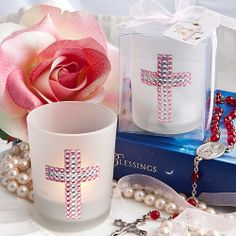 Religious Favor: For Girl's Holy Communion or Christening/Baptism- Bling Cross Candle Favors. www.ceceliasbestwishes.com