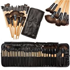 New Arrival High Quality Synthetic Hair 32pcs Professional Soft Cosmetic Eyebrow Shadow Makeup Brush Set Kit+Pouch Bag