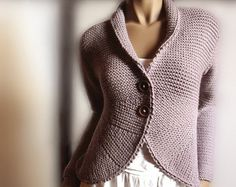 """Womens Knitted Bolero Ruffled Borders Cardigan Knitting Pattern Knit Sweater Instant Download PDF Knitting Pattern. Hand knit sweater. Can be ordered ready made as well, with custom measures and colors.  THIS IS NOT READY MADE ITEM! It is KNITTING PATTERN! AVAILABLE ONLY in ENGLISH!  All instructions are given in inches and cm.  SIZES S- M- L  Finished chest measurement SMALL 33"""" (84cm) MEDIUM 37"""" (94cm) LARGE 41"""" (104cm)  MATERIALS DROPS BIG MERINO (MEDIUM WEIGHT YARN) SIZE: S (M- L) 9…"""