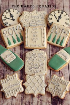 New Year's Eve Sugar Cookies - The Baked Equation Cut Out Cookies, Iced Cookies, Cute Cookies, Royal Icing Cookies, Holiday Cookies, Cupcake Cookies, Sugar Cookies, Frosted Cookies, Poppy Seed Cookies