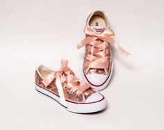 Youth - Sequin - Rose Gold Customized Converse Canvas Low Top Sneakers with Ribbon Laces
