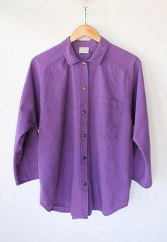 Vintage 80s Purple Cotton Denim Snap Up Shirt // Unisex Raglan Top. $32.00, via Etsy.