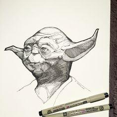 Star Wars pen and ink drawing, Yoda, art, sketchbook, Star Wars art, ink drawing