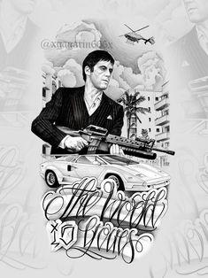 Chicanas Tattoo, Money Tattoo, City Tattoo, Sketch Tattoo Design, Tattoo Sketches, Tattoo Drawings, Tattoo Designs, Gangster Drawings, Gangster Tattoos
