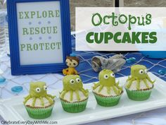 Check out these Octopus Cupcakes, perfect for an Under the Sea Party or Disney Octonauts Party! Kids Birthday Treats, 4th Birthday Parties, Birthday Ideas, 5th Birthday, Octonauts Party, Ocean Party, Party Themes For Boys, Pirate Party, Party Time