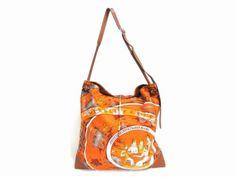 ca4c3ec2e441 Auth-HERMES-Silk-Leather-Silky-City-PM-Shoulder-Bag-Handbag-Orange-Brown