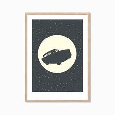 HARRY POTTER  Flying Car Poster : Modern Illustration Retro