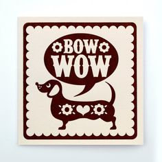 Sausage Dog Hand Printed Card by Snowdon on Etsy, $4.80
