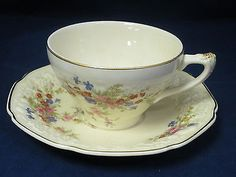 CROWN DUCAL - Marie - Florentine - CUP & SAUCER SET Cup And Saucer Set, Tea Cup Saucer, China Dinnerware, Psp, Teacups, Tea Party, Pottery, Crown, Tableware