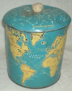 (modge podge on a trash can or tin container) Biscuits Tin Box w/ Map