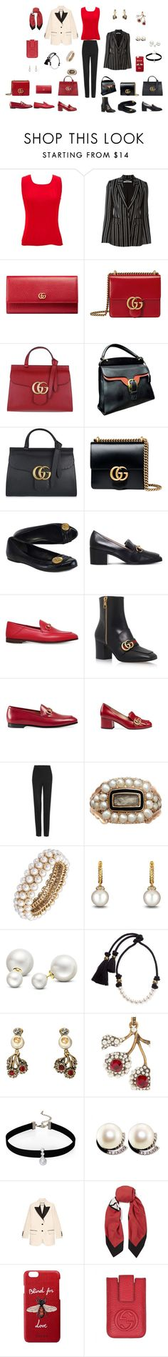 """Gucci Black & a touch of red"" by srothery on Polyvore featuring jon & anna, Givenchy, Gucci, Anne Klein, David Yurman, Allurez, Lanvin and Loren Olivia"