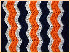 Handmade Crochet Navy, Orange and White Chicago Bears/Denver Broncos Baby Blanket on Etsy, $15.00