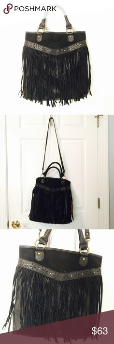 UO Black Fringe Purse Unique, western flair, black fringe purse. Detachable cross body strap to transform into shoulder purse. Never used! Like new condition. Urban Outfitters Bags