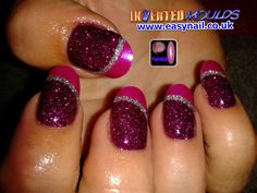 #Invertedmoulds #Fuchsia #Pink #Glitter with a #silver glitter line and our Fuchsia pink #Nailart #powder created by Cheryl Hammond  IM nail training available from http://www.easynail.co.uk/enuk/options/coursepacks.html  #acrylicnails #nailart #nailsalon #nailtechnician #nailtraining