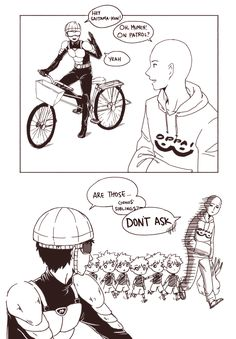 One Punch Man - Mumen Rider, Saitama and little Genos! One Punch Man 3, One Punch Man Funny, Saitama One Punch Man, One Punch Man Anime, Anime One, Funny Memes, Hilarious, Funny Comics, Decir No