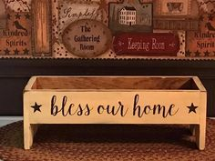 Simply Thankful Primitive Wood Table Riser/Box- Sayings and Color Options Painted Wood Crafts, Rustic White, Primitive Crafts, Decor Crafts, Home Decor, Primitives, Hope Chest, Wood Table, Crafts To Sell