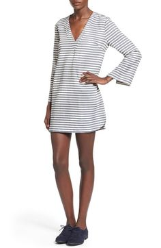 Lush Bell Sleeve Stripe Tunic Dress available at #Nordstrom