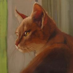 "Daily Paintworks - ""Window Cat painting of orange cat"" - Original Fine Art for Sale - © Diane Hoeptner"