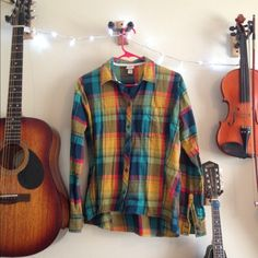 Multi Colored Flannel Cute button up flannel. Tops Button Down Shirts