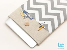 Linen macbook case with grey chevron pocket and wooden button closure --- these are adorable