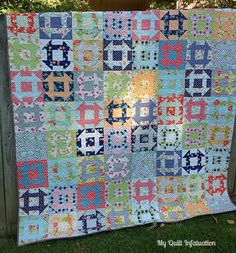 My Quilt Infatuation:  A Dash of Luck quilt.  Pinner says:  OMG this is so beautiful, I have to make this, but without these same fabrics will it ever be as beautiful?   72x90, nine inch blocks, 320 HSTs.