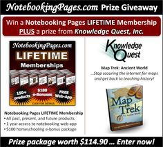 Notebooking Pages LIFETIME Memberships & Knowledge Quest, Inc. Map Trek Giveaway