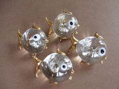 Vintage glass fish buttons. Handmade.