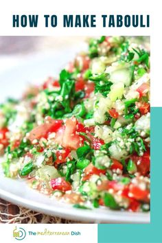 Tabouli salad or Tabbouleh is a simple Mediterranean salad of very finely chopped vegetables, lots of fresh parsley and bulgur wheat, all tossed with lime juice and olive oil. Grab my tips and watch the video for how to make tabouli below.