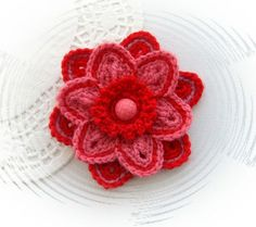 HAND CROCHET CORSAGE BROOCH APPLIQUE RED SALMON PINK FLOWER WITH BUTTON | eBay